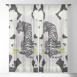 The Visit - Retro Vintage Tiger Cat Graphic Sheer Curtain