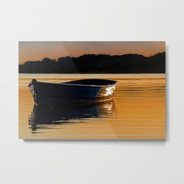 Rowing boat at sunset. Metal Print