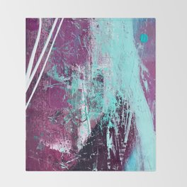 01012: a vibrant abstract piece in teal and ultraviolet Throw Blanket
