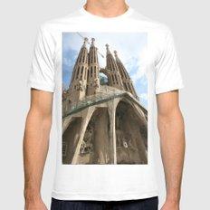 Work in Progress (La Sagrada Familia) White MEDIUM Mens Fitted Tee