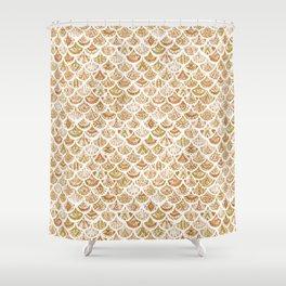 AZTEC MERMAID Golden Tribal Scales Shower Curtain