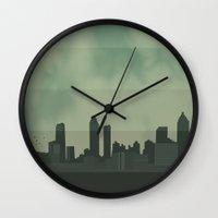 atlanta Wall Clocks featuring Atlanta Skyline by hello_im_nik