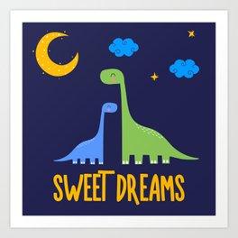 Dinosaurs At Night Rainbow Dinosaur Kids Pattern Art Print