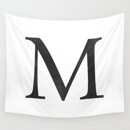Letter M Initial Monogram Black and White Wall Tapestry