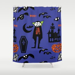 Cute Dracula and friends blue #halloween Shower Curtain