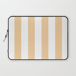 Pale Soybean and White Wide Horizontal Cabana Tent Stripe Laptop Sleeve