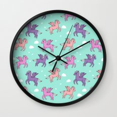 Pegasus pattern drawing cute kids neon print clouds unicorns by andrea lauren Wall Clock