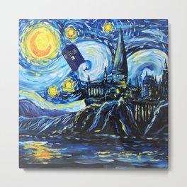 Tardis Flying Starry Castle Night Metal Print