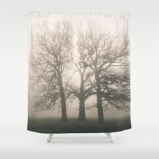 Early morning sun and trees in fog. Hilborough, Norfolk, UK. Shower Curtain