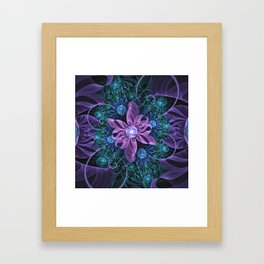 Bejeweled Butterfly Lily of Ultra-Violet Turquoise Framed Art Print