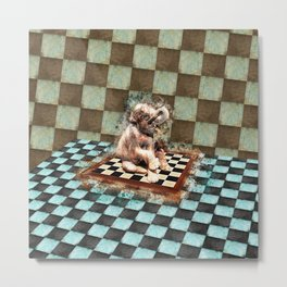 Baby Elephant on the chessboard digital art Metal Print