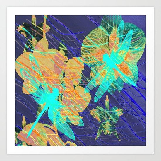 Colorful Dragonflies QD Art Print