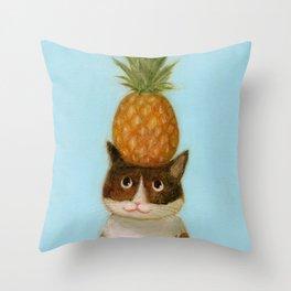 Pineapple Cat Throw Pillow