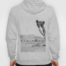 Vintage Desert Scape B&W // Cactus Nature Summer Sun Landscape Black and White Photography Hoody