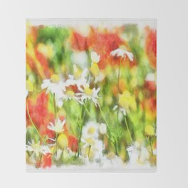 The Colors Of Spring On A Sunny Day Watercolor Throw Blanket