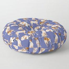 Redtick Coonhound on blue Floor Pillow
