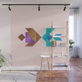 Tangram Fish in love Wall Mural