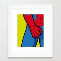 the secret life of heroes Framed Art Prints featuring The secret life of heroes - SpiderItch by Greg-Guillemin