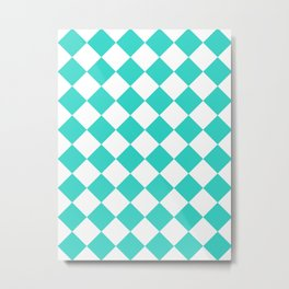 Large Diamonds - White and Turquoise Metal Print