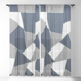 Navy Blue Gray White Mint Geometric Glam #1 #geo #decor #art #society6 Sheer Curtain