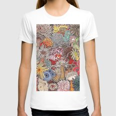 Clown fish and Sea anemones MEDIUM Womens Fitted Tee White