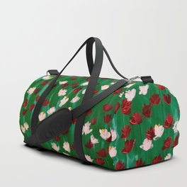 Red and White Flowers on Green Grass Duffle Bag