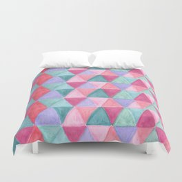 pastel triangle pattern Duvet Cover