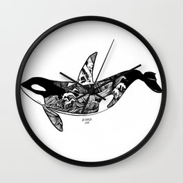 Black Whale and Shipwreck Wall Clock