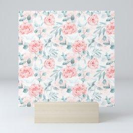 Rose Blush Watercolor Flower And Eucalyptus Mini Art Print