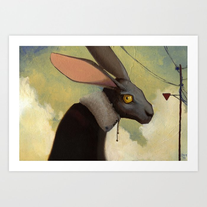 Melancholic rabbit Art Print
