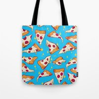 pizza Tote Bags featuring pizza by Erin Lowe