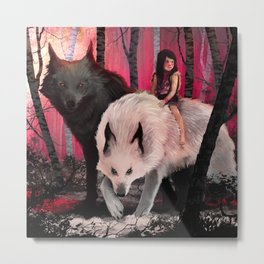 With my wolves Metal Print