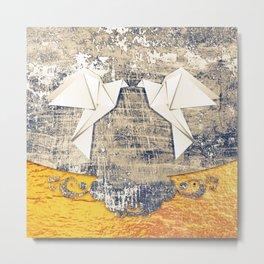 Pair of paper pigeons Metal Print