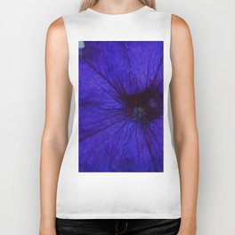 Blue Petunia Flower Macro Watercolor Biker Tank