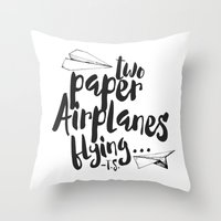 airplanes Throw Pillows featuring Paper Airplanes by Renata Bernardes