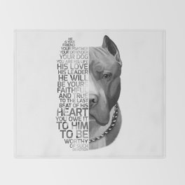 Pit Bull Print, Pit Bull Quote, Pit Bull Gift, Text Dog Portrait, Dog Art, Dog Quotes Print, Text Do Throw Blanket
