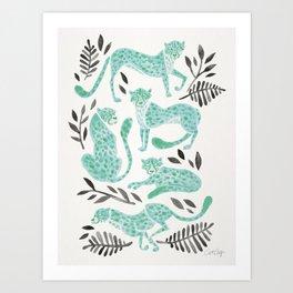 Cheetah Collection – Mint & Black Palette Art Print