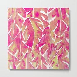 Split Leaf Philodendron – Pink Metal Print
