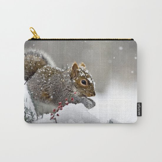 Snowy Squirrel Carry-All Pouch
