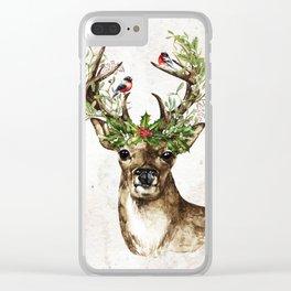 Rustic Christmas Deer Clear iPhone Case