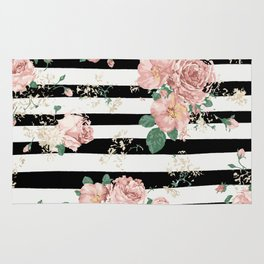VINTAGE FLORAL ROSES BLACK AND WHITE STRIPES Rug