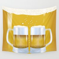 beer Wall Tapestries featuring illustration of beer glass, Beer by Hand Fan