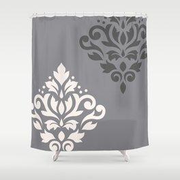 Scroll Damask Art I Cream & Grays Shower Curtain