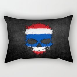 Flag of Thailand on a Chaotic Splatter Skull Rectangular Pillow