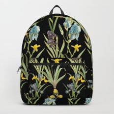 Vintage Floral Pattern | No. 2A | Iris Flowers | Irises Backpack