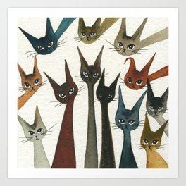 Damascus Whimsical Cats Art Print