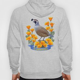 California State Bird Quail and Golden Poppy Hoody