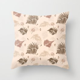 Fern and flowers Throw Pillow