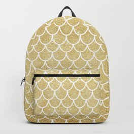 Mermaid Tail Pattern  |  Gold Glitter Backpack