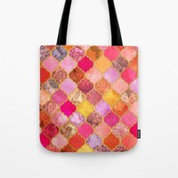 bedding Tote Bags featuring Hot Pink, Gold, Tangerine & Taupe Decorative Moroccan Tile Pattern by micklyn